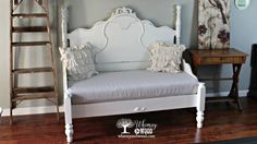 Farmhouse Elegance, Upholstered Bench Seat.