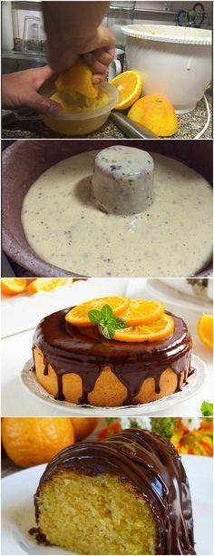 BOLO DE LARANJA COM COBERTURA DE CHOCOLATE,A GAROTADA ADORA VEJA AQUI>>>Bata os ovos com o açúcar e a margarina, junte a farinha, o fermento e o suco e raspas de laranja. Asse em assadeira untada e enfarinhada, a 230°C, por 40 minutos. Faça o teste do palito antes de retirar do forno #receita#bolo#torta#doce#sobremesa#aniversario#pudim#mousse#pave#Cheesecake#chocolate#confeitaria 230, How To Make Money, Tasty, Favorite Recipes, Cooking, Breakfast, Desserts, Chocolates, Construction Cakes