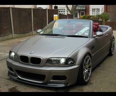 BMW cabrio in matte grey Bmw 3 Series Convertible, M3 Convertible, Bmw 3 E46, E46 M3, Cool Sports Cars, Cool Cars, E46 Cabrio, E46 Coupe, Bmw 318