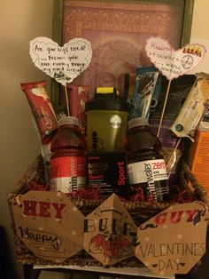"Valentine's Day basket for your ""gym rat"" boyfriend."