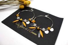 Boucles d'oreilles LIMON inspiration ethnique/amérindienne perles à facettes et breloques nuances de jaune