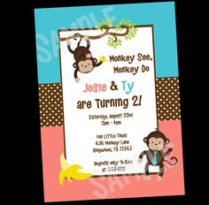 Monkey Birthday Invitation and Party Decorations for Twins or Siblings by OneWhimsyChick on Etsy