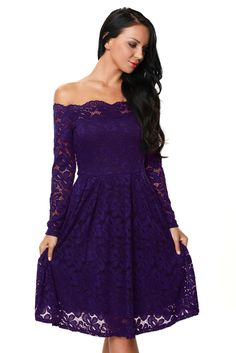 b489bba0ca9 Purple Long Sleeve Floral Lace Boat Neck Cocktail Swing Dress