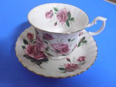 ROYAL ALBERT BONE CHINA TEA CUP + SAUCER PINK ROSES in Pottery & Glass, Pottery & China, China & Dinnerware, Royal Albert | eBay