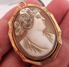 Victorian George L. Paine Co 10k Yellow Gold Cameo Shell Brooch Pendant #GeorgeLPaineCo