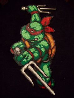 Teenage Mutant Ninja Turtles Large Raphael TMNT Hama Perler Beads. £30.00, via Etsy.