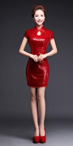 Red sequins short cheongsam traditional Chinese mandarin collar sheath dress BaiShiJiaYi-15158RD 005