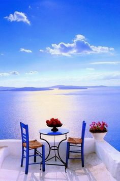 Patio in Santorini Greece