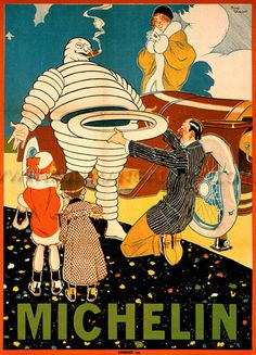 Poster for Michelin tyres, featuring a family taking a spare tyre for their broken-down car from Bibendum, the Michelin Man Artwork by René Vincent. Vintage Advertising Posters, Vintage Travel Posters, Poster Vintage, Vintage Advertisements, Old Poster, Poster Ads, Pub Vintage, Vintage Labels, Creepy Vintage