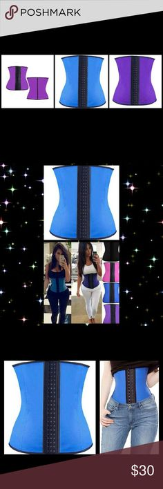 Latex Rubber Waist Trainer Cincher Slimming Corset Latex with cotton lining waist trainer Results after 2-3 weeks Wear when exercising for even quicker results Size 3XL fits 37-40in waist Available in blue or purple Stomach control n back support Improve posture 8 steel bones effectively Shape n mold your mid section 4 that perfect hourglass figure Increases perspiration melting fat from your belly, reducing bloating n suppressing appetite Adds Curves n definition Perfect for postnatal women…