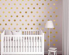 Trend Wand Dots Kinderzimmer Dekor Gold Dot Wandtattoos Gold von Twistmo