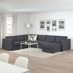 VIMLE Corner sleeper sofa, with chaise/Gunnared medium gray - IKEA Corner Sofa Living Room, Living Room Sofa Design, Living Room Grey, Home Living Room, Living Room Designs, Living Room Decor, Ikea Corner Sofa, Cosy Sofa, Sofa Set