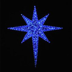 Giant LED Star of Bethlehem Blue-6 Feet. Top quality Blue Giant Bethlehem Star Display perfect for your Church, business, institution or town. Professionally designed and built by hand in the U.S.A., using only the highest quality materials, including commercial-grade M5 LED lights and fade-resistant fine-cut silver/white PVC garland for attractive daytime viewing. This display arrives prelit and ready to use. Five year warranty. Made in USA. Layaway! $699.00