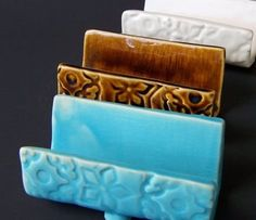 Handmade Pottery. Business Card Holder. Bright Turquoise. Gifts for Women. For Her. Wife. Girlfriend. Daughter. Mother. Secretary. Office