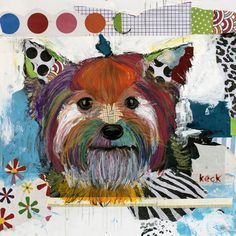 Yorkshire Terrier by Michel Keck- original, mixed media collage on canvas.