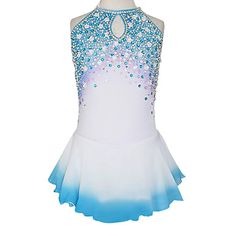 Ornate Diamond Sleeveless Ice Skating Dress With Sequin – USD $ 139.99