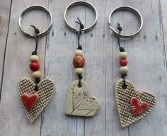 Items similar to Ceramic Heart Keychain, clay heart pottery heart keychain gift tag ceramic heart ornament stoneware handmade ceramics and pottery on Etsy Ceramic Jewelry, Polymer Clay Jewelry, Wire Jewelry, Clay Ornaments, Heart Ornament, Clay Beads, Clay Crafts, Wire Crafts, Clay Projects