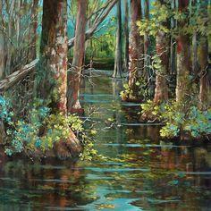 Louisiana Swamp Paintings | Bluebonnet Swamp Painting by Dianne Parks - Bluebonnet Swamp Fine Art ...