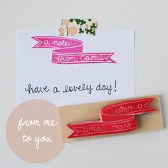 Hand Carved A Note From (You) Custom Rubber Stamp. $12.00, via Etsy.