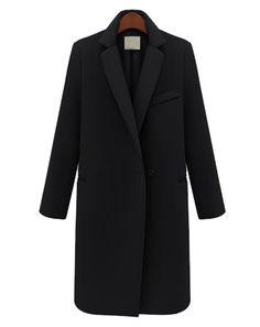 Black Long Sleeve Notch Lapel Oversized Coat - Sheinside.com.              Classic