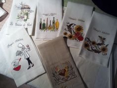 Hand Made Linen embroidered kitchen towels
