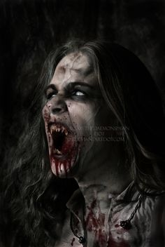 This make up could look really effective and this is an image I would love to recreate... The blood, teeth and the dirtying down work really well together