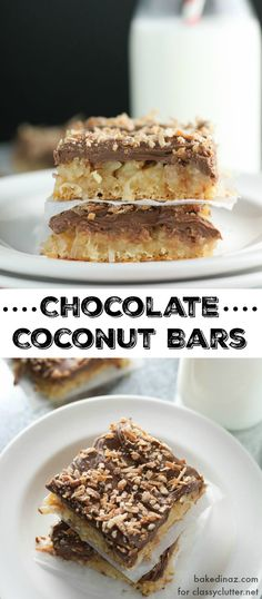 Chocolate Coconut Crescent Bars - these are the perfect dessert for any… Mini Desserts, Chocolate Desserts, Just Desserts, Delicious Desserts, Dessert Recipes, Oreo Dessert, Dessert Bars, Cake Bars, New Recipes