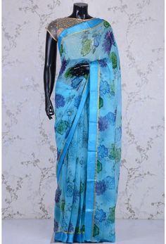Blended Chiffon Zari-Sky Blue-Printed-WK1084 Floral Print Sarees, Printed Sarees, Floral Prints, Vera Bradley Backpack, Chiffon, Sky, Blue, Fashion, Silk Fabric