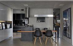 cozinha preta com estilo industrial