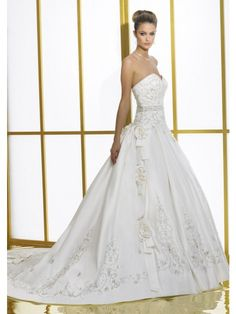 Best A-Line Strapless Satin Wedding Dress with Embroidery
