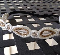 Beaded Headband // Gold & White Headband // Boho Headband // Women Hairband // Handmade by freeyourdream on Etsy https://www.etsy.com/listing/230858163/beaded-headband-gold-white-headband-boho