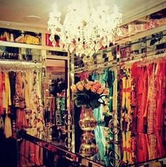 i could have this kind of closet, but there are way too many clothing choices for me. love the light!