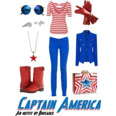 A wearable feminine #CaptainAmerica #outfit I created, inspired by the #MarvelComics character. #geek #fashion