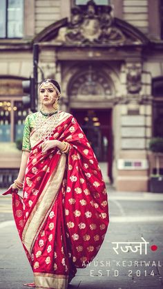 Benarsi bridal saree by Ayush Kejriwal For purchase enquires email me at ayushk@hotmail.co.uk or whats app me on 00447840384707. We ship WORLDWIDE. Instagram - designerayushkejriwal