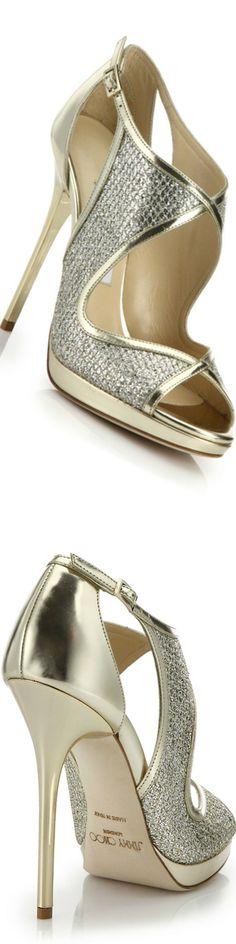 Jimmy Choo Leondra Glitter & Metallic Leather Cutout Sandals