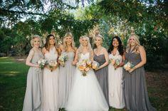 neutral bridesmaids dresses, peach, coral bouquet