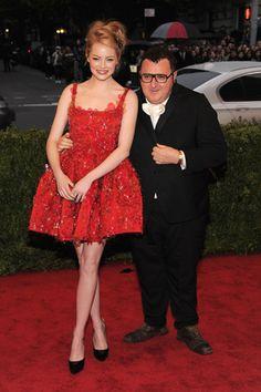 Emma Stone and Lanvin designer Elber Elbaz, in Lanvin, at 2012 Met Gala