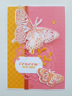 #stampinup #butterflybrilliance #2021 #papillons Bouquet, Tampons, Stampin Up, Scrapbooking, Butterfly, Vellum Paper, Papillons, Bouquet Of Flowers, Bouquets