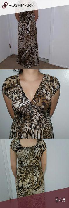 CHEETAH PRINT DRESS long summer dress  great condition  short sleeves Dresses Maxi