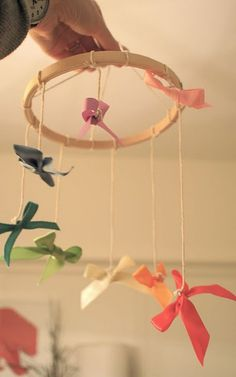 Pin for Later: 24 Decorating Hacks to Make Your Kids' Rooms Even Cuter Make Your Own No-Sew Mobile All it takes is a trip to the craft store (no seamstress skills required) to construct Pretty Prudent's sweet ribbon mobile.