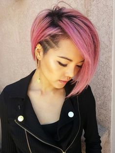 Rose gold/faded pink asymmetrical long pixie with shaved side