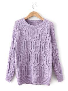 Beige Casual Round Neck Plain Sweater : KissChic.com
