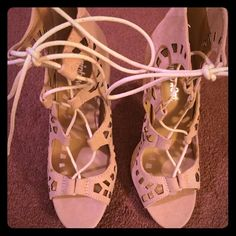Nude strappy heels Brand new never worn. Too high for me! No trades! Shoes Heels