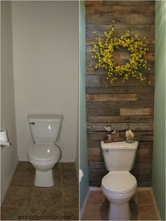 Toilet Make-over~   Supply List   Paint- Oops paint from Lowes.  Purchased a year ago $3  Pallet Wall- Free pallets from a 4x4 trip  Wreath- JoAnns. Purchased in the spring $10  All other decor purchased at yard sales and discount stores off and on through the years
