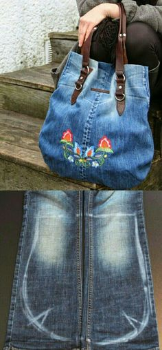 Good Photographs Jeanstaschen - Thoughts I love Jeans ! And even more I love to sew my own, personal Jeans. Next Jeans Sew Along I'm like Denim Crafts, Jean Crafts, Denim Ideas, Old Shirts, Recycled Denim, Handmade Bags, Handmade Leather, Vintage Leather, Diy Fashion