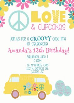 Birthday party Invitation 70's party hippie party 5 X 7 by love babble www.etsy.com/shop/lovebabble