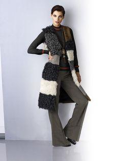Absolutes Fashion-Highlight in Patchoptik: Weste von ALBA MODA in aktueller Longform; allover aus verschiedenem Fell gepatcht!