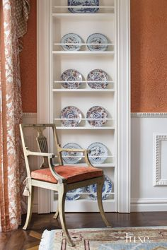 Traditional Orange Dining Room Vignette