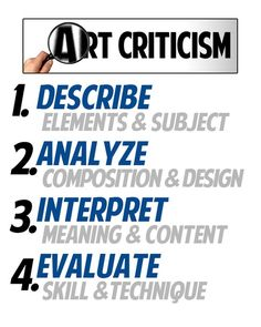 TALK Critical thinking skills/steps in looking at and trying to understand artworks. art DBAE evaluation critiqueCritical thinking skills/steps in looking at and trying to understand artworks. Middle School Art, Art School, High School, Art Analysis, Formal Analysis, Art Room Posters, Classe D'art, Art Critique, Art Handouts