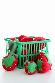 Hand stitched strawberries. Play kitchen food!